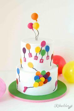 A fun balloon cake for a first birthday - a fun balloon cake for a first birthday cake decorating recipes kuchen kindergeburtstag cakes ideas Balloon Birthday Cakes, Balloon Cake, First Birthday Cakes, Baby Balloon, Birthday Bash, Fondant Cakes, Cupcake Cakes, Baby Cakes, Butterfly Cakes