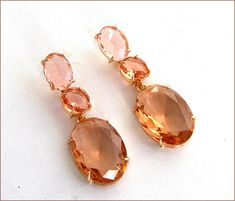 Pink/Champagne /Gold crystal Swarovski earrings luxe Crystal Rhinestone, Swarovski Crystals, Champagne Color, Peach Colors, Ear Piercings, Jewelry Design, Drop Earrings, Gold, Gifts