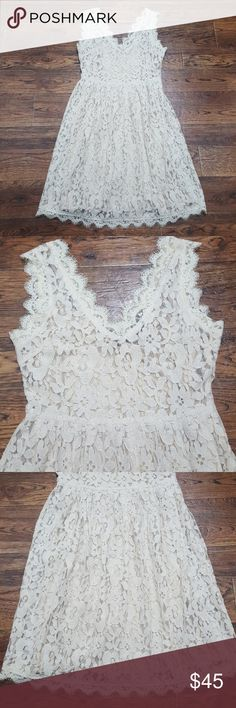 Anthropologie Greylin Melusine Lace Dress Makes a great bridesmaid or summer wedding dress! Ivory colored lace over a gold color slip. Pit to pit measures 16 inches, waist measures 16 inches across, length is 36 inches from shoulder to hem. Greylin Dresses Mini