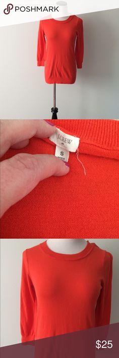 J. CREW Orange cotton Sweater Gently worn, orange cotton sweater 3/4 sleeves. J. Crew Sweaters Crew & Scoop Necks