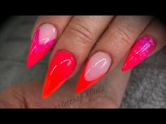 Acrylic nails - neon design set - YouTube Neon Design, Design Set, Mylar Nails, Rainbow Nails, Uv Led, Nail Tech, Red And Pink, Nail Colors, Acrylic Nails