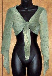 Crop Top Semi Sheer Glitter Angel Sleeve Hippie Blouse Tie Front Joyce Leslie