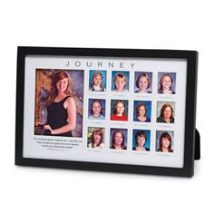 Keep a record of your childs life in our Through-The-Years Journey photo frame. This frame gives you 13 openings to display your childs school photos from kindergarten to high school graduation. The black wood frame features a cream-colored matte with the beloved verse Jeremiah 29:11 imprinted on it. The classic design of the Through-The-Years Journey photo frame complements any décor. Price: $24.99