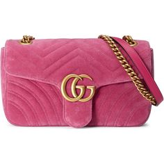 Gucci Gg Marmont Chevron Velvet Shoulder Bag (5.075 BRL) ❤ liked on Polyvore featuring bags, handbags, shoulder bags, gucci, pink, chain shoulder bag, shoulder handbags, purple purse, shoulder hand bags and pink purse