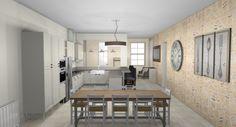 #Decoration classique & familiale avec l'intégration de parement en pierre qui réchauffe la pièce
