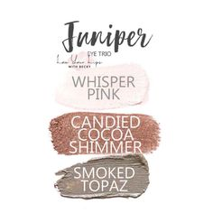 Juniper Eye Trio uses three SeneGence ShadowSense : Whisper Pink, Candied Cocoa Shimmer and Smoked Topaz. These creme to powder eyeshadows will last ALL DAY on your eye. LE Candied Cocoa Shimmer - I still have some on hand. Natural Eyeshadow Looks, Senegence Makeup, Senegence Products, Shadow Sense, Diy Makeup, Makeup Ideas, Makeup Tutorials, Beauty Hacks, Beauty Tips