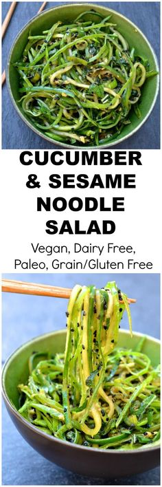 A delicious asian salad of cucumber noodles snap peas and sesame. Ready in just 15 minutes (Raw Vegan Paleo Gluten Free SCD Legal) Raw Food Recipes, Asian Recipes, Vegetarian Recipes, Cooking Recipes, Healthy Recipes, Drink Recipes, Roh Vegan, Paleo Vegan, Vegan Raw