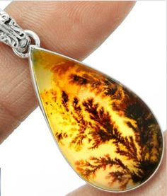 Scenic Dendritic Agate Pendant .925 Sterling Silver. Starting at $1 on Tophatter.com!