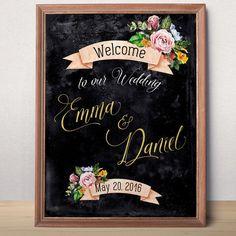 Wedding Sign Printable Chalkboard Gold Wedding Welcome sign Personalized Wedding Sign Welcome to our wedding Rustic floral wedding printable