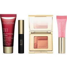 CLARINS 5 minute kit with bb cream 01 fair (1.940 RUB) ❤ liked on Polyvore featuring beauty products, makeup, face makeup, tinted moisturizer, clarins tinted moisturizer and clarins