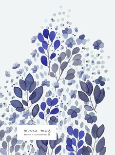 blue painting floral leafy by minna may.