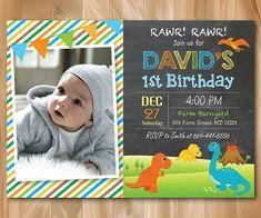 Invitación del cumpleaños del dinosaurio. por PrettyPartyDesign