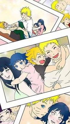 "naruhina family Um....what's going on in the bottom right picture? I can just seeone of the kids barging in on them having ""quality time"" Lol!"