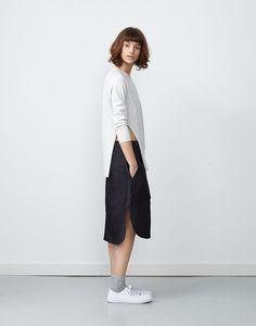 Tozai Knit Grey Melange + Natsue Skirt Indigo