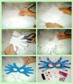 màscara carnaval amb mans by dee Kids Crafts, Preschool Crafts, Diy And Crafts, Arts And Crafts, Paper Crafts, Carnival Crafts, Carnival Masks, Mardi Gras, Diy For Kids