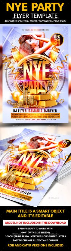 Buy NYE Party Flyer Template by Flyermania on GraphicRiver. NYE Party Flyer Template is very modern psd flyer that will give the perfect promotion for your upcoming event or clu. Nye Party, Party Flyer, Easy Model, Club Parties, New Years Party, Flyer Template, Flyers, Banners, Fonts