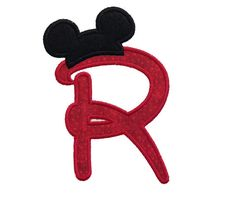 Disney Style Applique Alphabet with Mouse Ear Hats Machine Embroidery Designs - 3 Sizes
