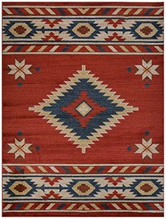 "Nevita Collection Southwestern Native American Design Area Rug Rugs Geometric (Orange (Terra) Blue Beige Red, 5'3"" x 7'1""), http://www.amazon.com/dp/B0103KTOPS/ref=cm_sw_r_pi_awdm_LwBFwbGWRSN3H"
