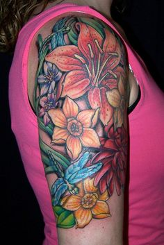 floral collage tattoo, via Flickr.