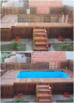 This is much a simple and easy crafted wood pallet swimming pool design. The project of the wood pallet has been adjusted with the unique coverage of the swimming pool crafting where the whole of the designing has been intended to be done with the wood pallet premium use inside it.