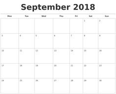 64 Best September Calendar 2018 Images On Pinterest September