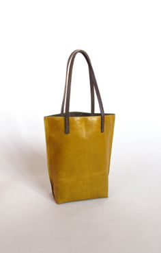 tiny leather tote in mustard yellow by amykreiling on Etsy, $170.00