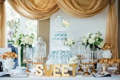 light blue and gold dessert table - photo by Sunnyside