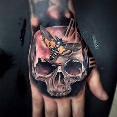 Skull,Death's-Head Hawkmoth and clock face on guys hand by Vintageinx.  http://tattooideas247.com/deaths-head-moth/