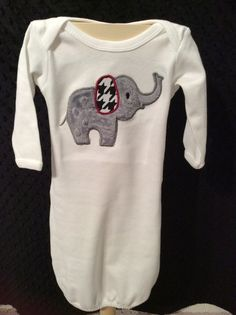 Houndstooth Elephant Gown newborn gown by TWINSANDQUINN on Etsy