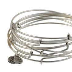Alex and Ani Thin Smooth Set of 7 Wire Bangles Russian Silver