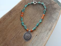 Coral and magnesite necklace