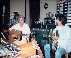 George Harrison & hero, legendary Carl Perkins --Jeff Lynne is pictured in the back