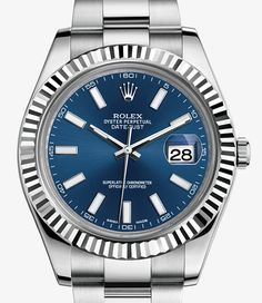 Rolex Datejust II Watch: White Rolesor - combination of 904L steel and 18 ct white gold - 116334 Fluted bezel, oyster bracelet.