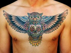 Mexican Owl With Sugar Skull Tattoo On Chest