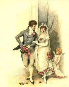 Victorian Bride and Groom with Cupid