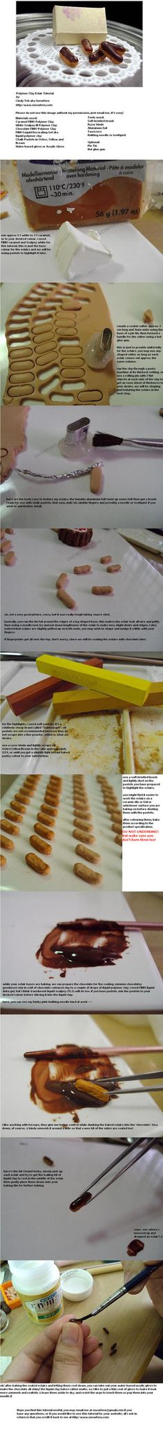 Polymer Clay Eclair Tutorial by ~Snowfern on deviantART