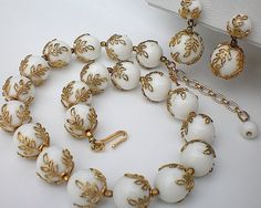 Gorgeous Vintage TRIFARI Demi-Parure, Golden Delicate Lace and White Lucite Beads, Necklace and Earrings /99