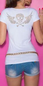tarbuy - KouCla T-Shirt mit cut-outs und Skull Spandex, Skull Art, Peplum, Cut Outs, Heels, Tops, Women, Fashion, Cotton