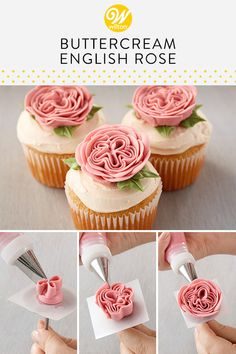 Learn how to make a beautiful buttercream English rose for a beautiful decoration to your cake or cupcakes. Use the petal tip 150 to create this flower. Learn how to make a beautiful buttercream English rose for a beautiful decoration to your cake or Cupcake Frosting Tips, Frosting Recipes, Cupcake Recipes, Cupcake Cakes, Baking Cupcakes, Frost Cupcakes, Wilton Cakes, Fondant Cakes, Roses Buttercream