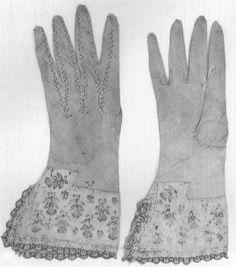 Black work embroidered linen gloves - 1600
