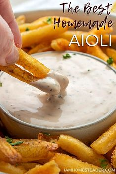 5 minutes · Vegetarian Gluten free · Serves 16 · This creamy and garlicky homemade aioli recipe is easy to make, goes great with most foods, and will be your new favorite condiment! homemade aioli recipe, aioli, garlic mayonnaise, i am homesteader, homemade dressings, homemade condiments