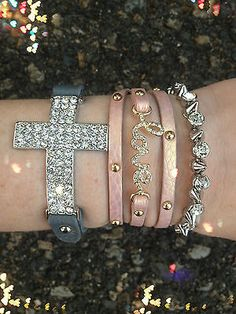 Bracelet Arm Candy Stack Pink Love Cross Leather Wrap Studded Rhinestone Set
