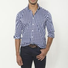 Long Sleeve Gingham Stretch Cool Touch Performance Shirt (Royal Gingham)