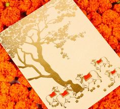 Wedding Invites - Beautiful tangerine white and gold hand illustrated invitation | WedMeGood #wedmegood #weddinginvites #invites