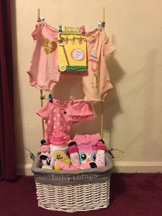 Baby clothesline laundry basket I made.