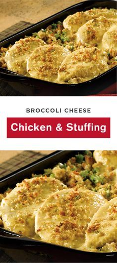 With stuffing baked into this Broccoli, Cheese, Chicken, and Stuffing dish, you'll love the classic flavor combination. The golden-brown crust is the perfect delicious recipe to add to your dinner table.
