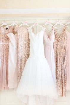 Glittery rose gold + blush bridesmaid dresses: http://www.stylemepretty.com/arizona-weddings/scottsdale/2016/06/23/youll-want-to-steal-this-bride-and-grooms-sweet-design-ideas/ | Photography: Amy & Jordan Photography - http://amyandjordan.com/