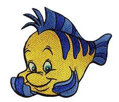Flounder patch iron on disney embroidered patch applique