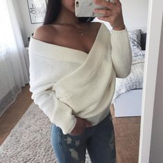 Off the Shoulder wrap sweater