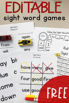 You'll love how easy it is to use these editable sight word games! Download, type in your words, print, and play! Use these games in kindergarten, preschool, first, and second grade. #sightwords #editable